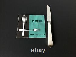 1 VTG GEORG JENSEN PYRAMID Dinner Knife LONG Sterling Silver Handle 8 7/8 IN #14
