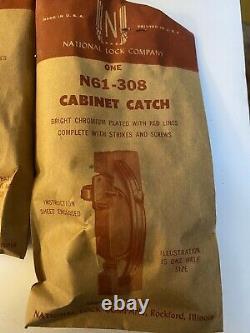 10 Nos Vintage Red Chrome Cabinet Handle Catch Pulls Art Deco Kitchen N61-308