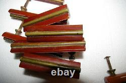 10 Vintage Amber Butterscotch Bakelite Drawer Pulls Handles Art Deco Brass