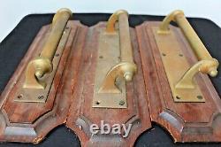 10 vintage antique salvaged art deco brass cinema pub door pull handles