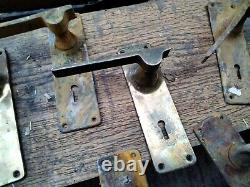 12 Vintage Deco Door Handles. Brass Bronze For Parts Modernist