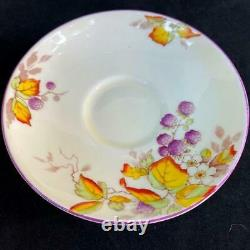 1920s Star Paragon England PANSY FLOWER HANDLE BLACKBERRY Art Deco Cup Saucer