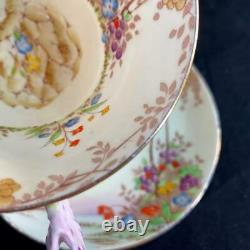 1920s Star Paragon England PANSY FLOWER HANDLE MERRIVALE Art Deco Cup Saucer
