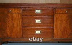 1965 Stamped Greaves & Thomas Mahogany Brass Sideboard Military Campaign Handles