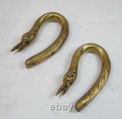 2 Antique Solid Brass Door Handles Geese Birds Swan Bird Collectible Art Deco