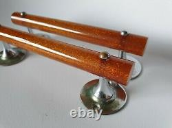 2 x Vintage Amber Glitter Bakelite Phenolic Lucite Pull Door Handles 148 grams