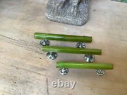 3 Antique Art Deco 1930s door handles Green bakelite phenolic Catalin