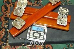 3 VINTAGE ART DECO AMBER BAKELITE PHENOLIC DOOR HANDLES 8 492 gram