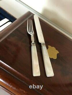 35 Silver Plated And Mother Of Pearl Handled Dessert Knives & Forks (mop 666)