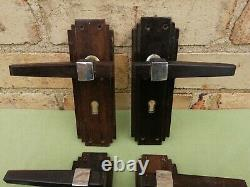 4 Beautiful Pairs Of Original Art Deco Hardwood And Chrome Door Handles