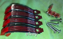 4-Vintage CHROME DRAWER Pull Cabinet Door Handles RED LINES Art Deco With Screws