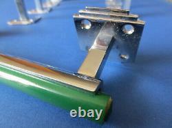 5 Art Deco Green Bakelite & Chrome Door Drawer Pull Handles Rare Phenolic Vtg