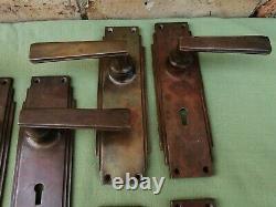 5 Pairs Of Stunning Original Art Deco Brass Door Handles Un-polished