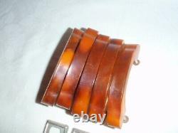 5x Art Deco Butterscotch Amber Bakelite Drawer Pulls Handles Complete set C. 1920