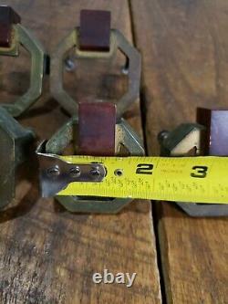 7 Vintage Art Deco Bakelite And Brass Look Pulls Handles Hardware Octagon