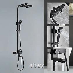 8 Black Wall Mount Rain Shower Set Combo & Handle Shower & Tub Filler Mixer Tap