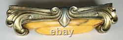 8 Vintage Amber Bakelite Art Deco Dresser Drawer Handles Scroll Pulls NICE