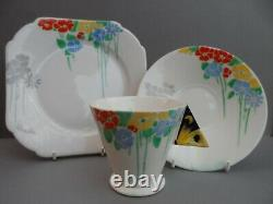 A superb Shelley Art Deco Butterfly Handle 11757 Mode shape tea trio. C. 1930