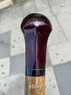 ANTIQUE ART DECO Cherry Amber Faturan Bakelite Umbrella Handle 36 gr