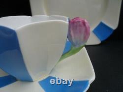 An extremely rare Shelley Art Deco 12109/8 Queen Anne tulip handle tea trio