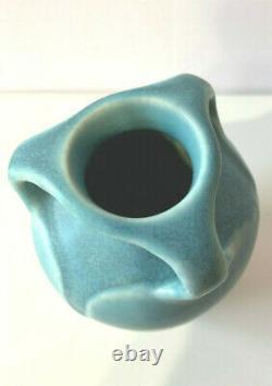 Antique 1928 Rookwood Mat Blue 3 Handled Vase