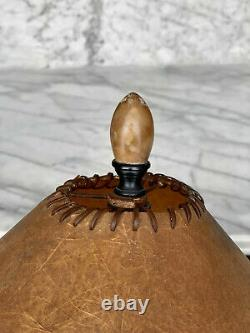 Antique Art Deco Marble Urn Handle Table Lamp with Fiberglass Shade