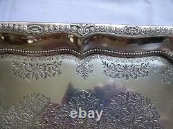 Antique Art Deco Silver Plated Twin Handled Claw Feet Butler's Tray 50cm x 30cm