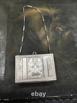 Antique Art Deco Silvertone Purse Powder Compact With Chain Handle Fine Details
