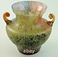 Antique Bohemian Czech Deco Kralik Glue Chip Art Glass Vase with Applied Handles