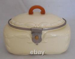 Antique Ceramic Art Deco Cookie Jar Biscuit Barrel Butterscotch Bakelite Handle