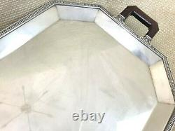 Antique Christofle Large Serving Tray Silver Plated Twin Handled French Art Deco