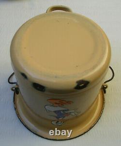 Antique Disney Donald Duck Enamel Bucket Chamber Pot Art Deco 1930 LID & Handle