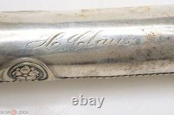Antique Ebonised Cane Walking Stick 800 Silver Art Deco Handle 90cm, 35.3