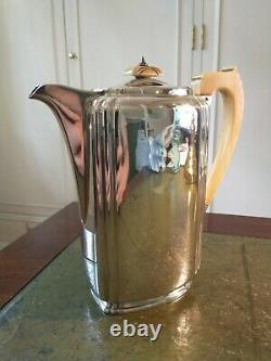 Antique George VI Sterling Silver Art Deco Coffee Pot Carved Handle & Finial