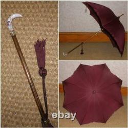 Antique Ladies Umbrella By Paragon & Fox, French Porcelain Handle Cherub Design