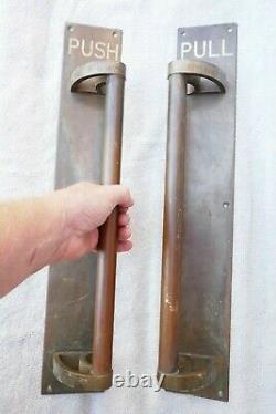 Antique Pair Huge Bronze/Brass Door Handles Art Deco Building Push Pull 21.5