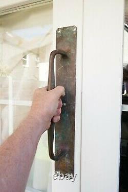 Antique Pair Large Bronze Door Handles Shop Pulls Art Deco Old Building 18 30s