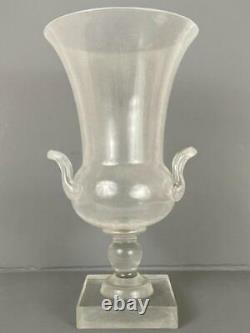 Antique Pairpoint Gundersen Art Deco Crackle Clear Glass Footed Urn Handled Vase