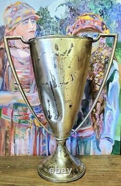 Antique Silver Plated Loving Cup HUGE Handled Trophy 1920s Silverplate Wallace