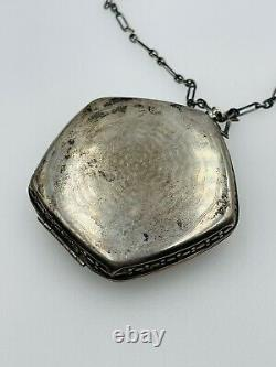 Antique Victorian Sterling Silver Yellow Enamel Guilloche Handled Compact Case