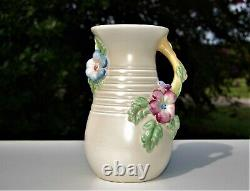 Antique Vintage Authentic Clarice Cliff Large Ribbed And Handled Flower Vase