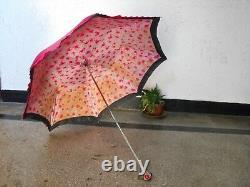 Antique Vintage Magician Umbrella Handle with red Crystals Art Deco