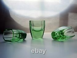 Art Deco Bohemian Faceted Green Uranium Glass Decanter with a Handle & 3 glasses