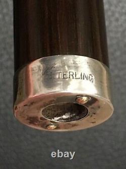 Art Deco Cane or Umbrella Handle Antler with Sterling Silver Appliqués