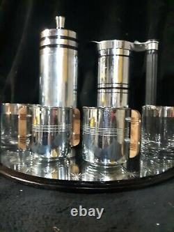 Art Deco Cocktail Shaker/Pitcher Bar set. Made by the Chase Co and Sunbeam