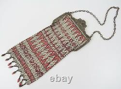 Art Deco Mandalian long pink on cream bird handle mesh purse