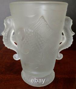 Art Deco Rare Josef Inwald Barloc Frosted Glass Seahorse Handle Koi Fish 1930's