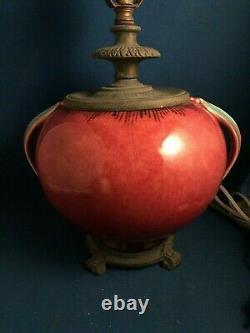 Art Deco Roseville Pottery Orian Spherical Lamp #274-6 Berry Turquoise Handles