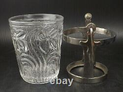 Art Deco SAINT LOUIS Crystal Ice Bucket Flower Decor Silver Plated Cross Handle