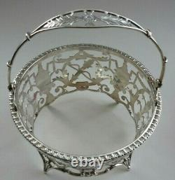 Art Deco Swing Handled London Silver Sugar Basket & Original Cranberry Liner